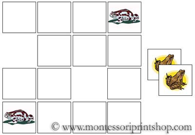 Frog Memory Game for Montessori Learning at home and school