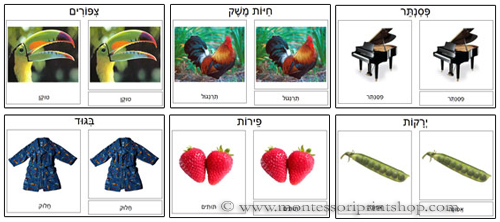 Hebrew 3-Part Classified Cards: Birds, Farm Animals, Musical Instruments, Clothing, Fruits, Vegetables. Printable Montessori Hebrew materials.