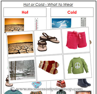 Hot or Cold, What to Wear? - Preschool Montessori lesson for Montessori Learning at home and school.
