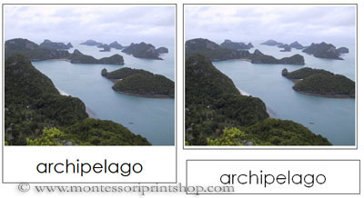 Land and Water Form Photo Cards - Printable Montessori Materials for home and school.