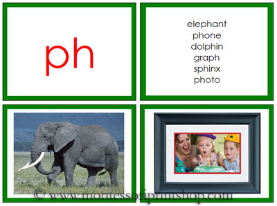 Green Phonogram Photos for Moveable Alphabet (Large) - Printable Montessori Materials for home and school.