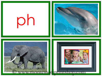 Green Phonogram Photos for Moveable Alphabet (Small) - Printable Montessori Materials for home and school.