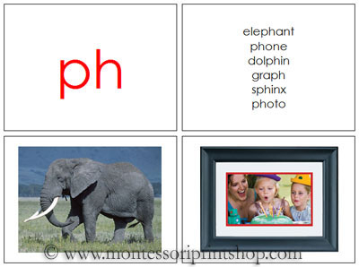 Phonogram Photos for Moveable Alphabet Step 3 (Small) - Printable Montessori Materials for home and school.