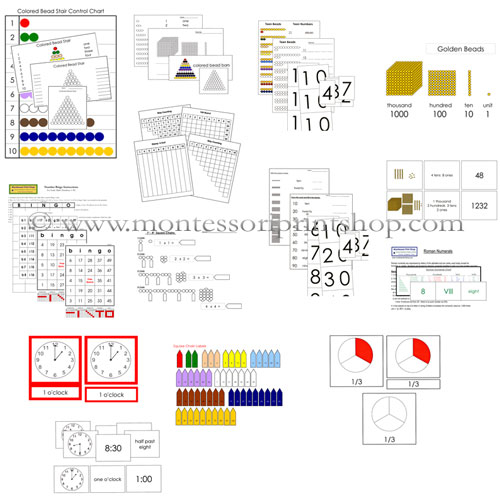 Printable Montessori Math Extension Lessons for Montessori Learning at home and school.