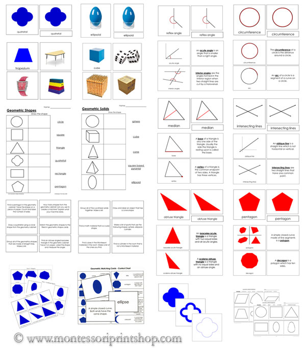 Montessori Math and Geometry Cards