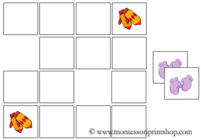 Mitten Memory Game for Montessori Learning at home and school