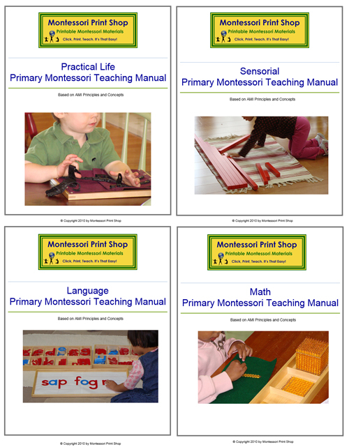 Primary Montessori Teaching Manuals - Practical Life, Sensorial, Language and Math Bundle