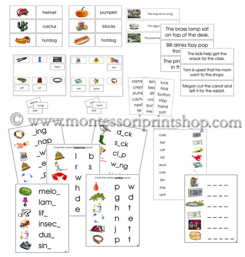 Montessori Step 2 Phonetic Language Series, printable Montessori Language materials for Montessori Learning at home and at school.
