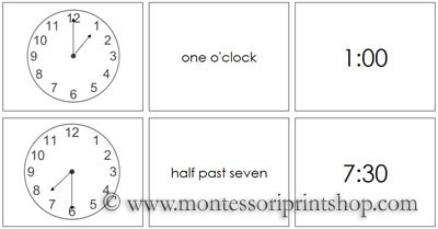 Time Cards - Printable Montessori Materials for home and school.