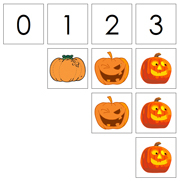 0 to 10 Number Cards and Pumpkin Counters - Printable Montessori Math Materials by Montessori Print Shop.