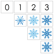 0 to 10 Number Cards and Snowflake Counters - Printable Montessori Math Materials by Montessori Print Shop.