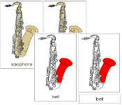 Saxophone Nomenclature Cards (Red) - Printable Montessori materials by Montessori Print Shop.