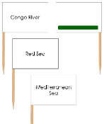 Africa waterway labels - pin flags (color-coded) - Printable Montessori geography materials by Montessori Print Shop.