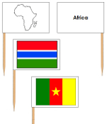 African Flags - pin flags (no color-coding) - Printable Montessori Geography Materials by Montessori Print Shop.