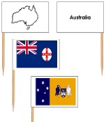 Australia Flags: pin flags (color-coded) - Printable Montessori materials by Montessori Print Shop.