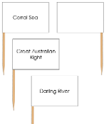 Australia waterway labels - pin flags - Printable Montessori geography materials by Montessori Print Shop.