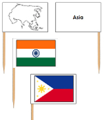 Asian Flags: pin flags - Printable Montessori Geography Materials by Montessori Print Shop.