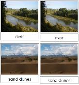 Aquatic and Land Features Photo Cards Set 1 - Printable Montessori geography materials by Montessori Print Shop.