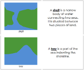 Land and Water Form Book (b/g) - Printable Montessori geography materials by Montessori Print Shop.