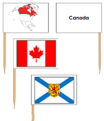 Canadian Provincial Flags - pin flags (no color coding) - Printable Montessori geography materials by Montessori Print Shop.