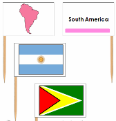 South American Flags: pin flags - Printable Montessori Geography Materials by Montessori Print Shop.
