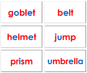 Red and Blue Phonetic Word Cards (Level 2) - Printable Montessori language materials by Montessori Print Shop.