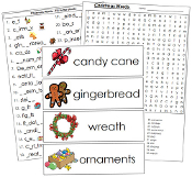 Christmas Word Wall - Printable Montessori Language Cards by Montessori Print Shop.