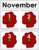 November Calendar Tags - Printable Montessori materials by Montessori Print Shop.