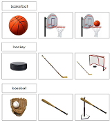 Sports and Equipment Sorting Cards - Printable Montessori preschool materials by Montessori Print Shop.