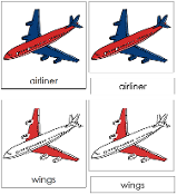 Airliner Nomenclature Cards (Red) - Printable Montessori materials by Montessori Print Shop.