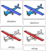 Airplane Nomenclature Cards (Red) - Printable Montessori materials by Montessori Print Shop.