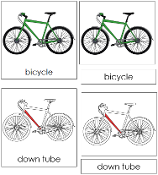 Bicycle Nomenclature Cards - Printable Montessori nomenclature cards by Montessori Print Shop.