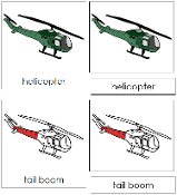 Helicopter Nomenclature Cards (Red) - Printable Montessori materials by Montessori Print Shop.