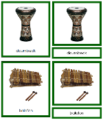 African Musical Instruments - Printable Montessori geography materials by Montessori Print Shop.