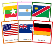 World Flags Bundle (color borders) - Printable Montessori Geography Materials by Montessori Print Shop.