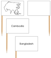 Asia - pin flags - Printable Montessori geography materials by Montessori Print Shop.