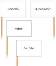 Australia Capital Cities - pin flags - Printable Montessori geography materials by Montessori Print Shop.