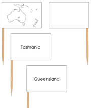 Australia Map Labels - pin flags - Printable Montessori geography materials by Montessori Print Shop.