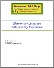 Elementary Antonym Key Experience & Materials - Printable Montessori materials by Montessori Print Shop.