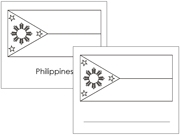 Asian Flag Outlines - Printable Montessori Geography Materials by Montessori Print Shop.