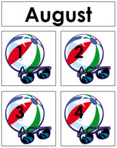 August Calendar Tags - Printable Montessori materials by Montessori Print Shop.