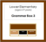 Elementary Grammar Box 3 Adjectives (Elementary Colors) - Printable Montessori materials by Montessori Print Shop.
