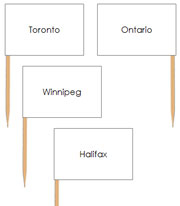Canadian Capital Cities - pin flags - Printable Montessori geography materials by Montessori Print Shop.