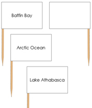 Canadian Bodies of Water Labels - pin flags - Printable Montessori geography materials by Montessori Print Shop.