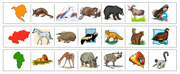 Continents & Animals Cutting Strips - Printable Montessori preschool Materials by Montessori Print Shop.