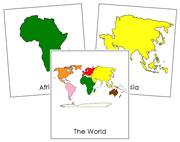 World Continent Cards - Printable Montessori geography materials by Montessori Print Shop.