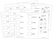 Phonics Sheets (Cut & Paste) - Step 1 - Printable Montessori Language materials by Montessori Print Shop