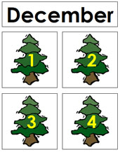 December Calendar Tags - Printable Montessori materials by Montessori Print Shop.