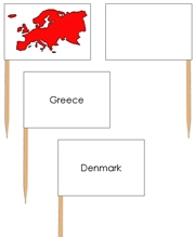 Europe - pin flags (color-coded) - Printable Montessori geography materials by Montessori Print Shop.
