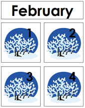 February Calendar Tags - Printable Montessori materials by Montessori Print Shop.